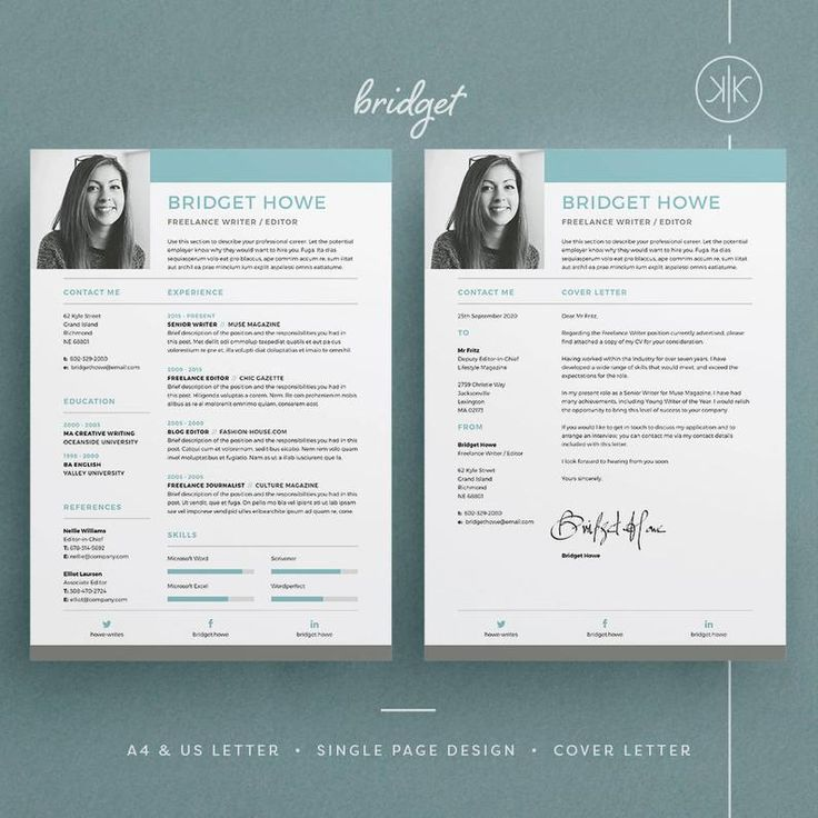 Bridget Resume/CV Template Word InDesign Etsy
