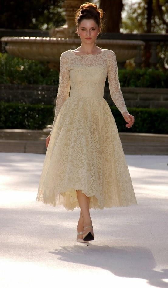 The well-made 2015 champagne lace illusion sleeves tea length wedding  dresses cheap a line boat neck ... ed842bc6e3fd