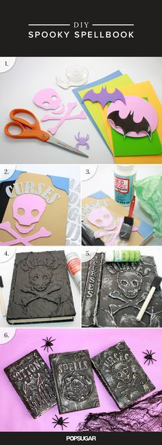 Recycle old books that you'll never read again into a library of DIY Spell Books that are sure to add a spooky touch to your Halloween decor.