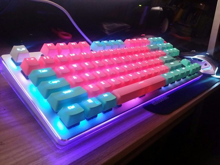 Rapoo V500 pro with cyan and pink keycaps Gaming room