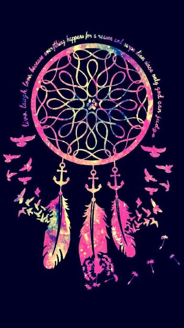 Colourful Dreamcatcher Aesthetic Iphone Wallpaper Black Background Motivational Quote In 2020 Dreamcatcher Wallpaper Cute Backgrounds Wallpaper Iphone Cute