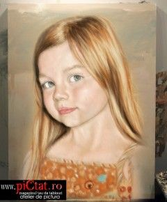 Tablouri pictate: Portret Fetita cu parul blond portrete pictate in ulei pe panza dupa fotografie Pictura Portet comanda