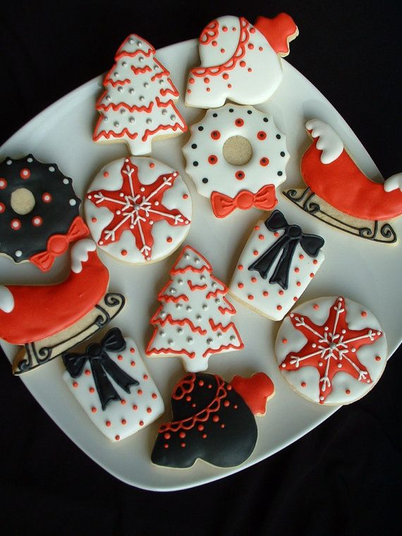 Black, red, and white cookies