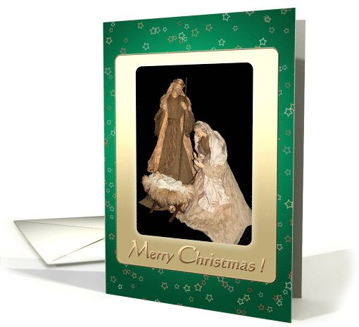 Holy Family Vintage Nativity brown golden green - Christmas Holidays card by steppeland