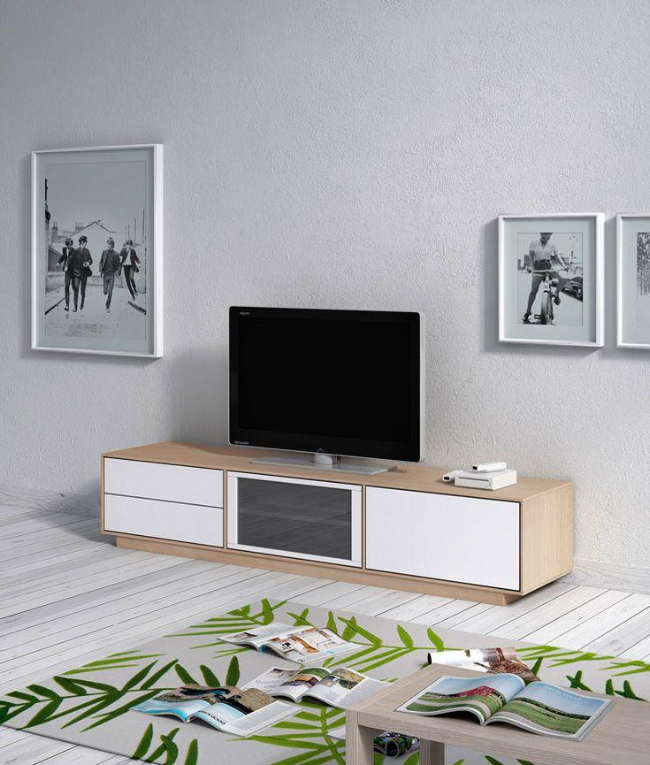 Comedores de diseño Transfer de Kibuc. Módulo de TV sin patas en blanco y acabado natural.