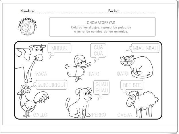 """Onomatopeyas de animales"" (Ficha de Pipo)"