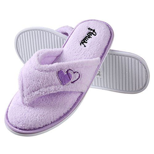 c81b03d3c37da8 Aerusi Women s Plush Fleece Memory Foam Flip Flop Thong Spa Slip On Slipper  Bedroom Indoor House Shoes (Size 7