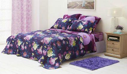 Colcha Estampada Rebeca Lila. Visítanos en tuakiti.com #colcha #quilt #decoracion #homedecor #hogar #home #habitacion #bedroom #tuakiti