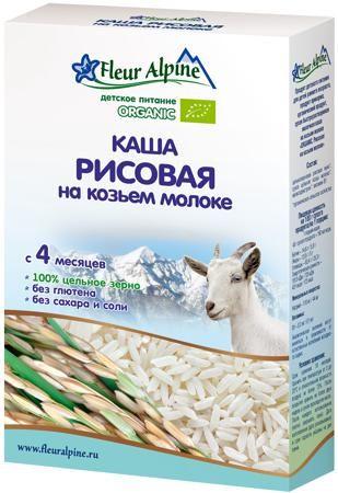 Fleur Alpine Молочная рисовая на козьем молоке (с 4 меяцев) 200 г  — 385р.  Каша Fleur Alpine Organic рисовая на козьем молоке с 4 мес. 200 г. Рекомендуется в качестве первого зернового прикорма. Уникальные свойства риса - это секрет, который заключен в составе зерен. Высокая пищевая ценность делает крупу незаменимой для детского питания. Крахмально-слизистые составляющие этой каши обволакивают желудок, защищая его от раздражения. Рис имеет свойство выводить токсины и вредные вещества из…