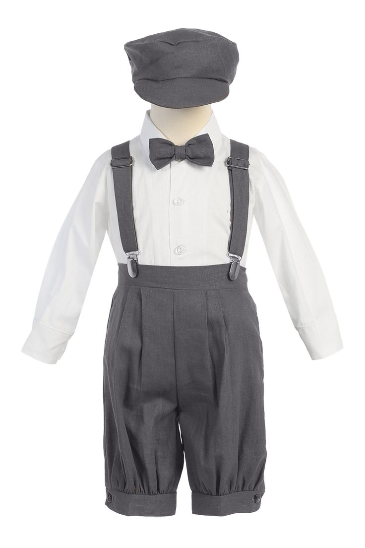 NEW - Dark Charcoal Grey Linen Blend Knickers 4 Piece Outfit with Suspenders & Matching Cap (Baby or Toddler Boys)