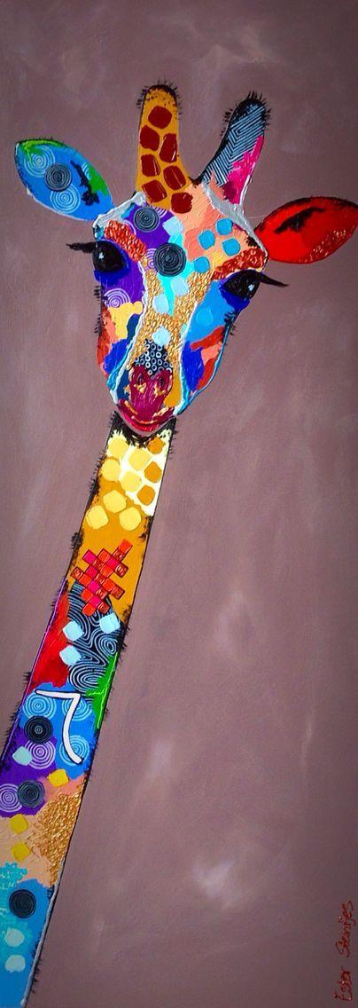 Jirafa, acrílico sobre lienzo