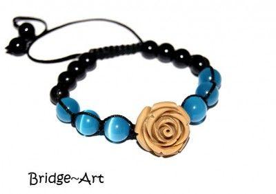 Bransoletka Shamballa: Kocie Oko i Róża Fimo #bracelet #bransoletka #rose