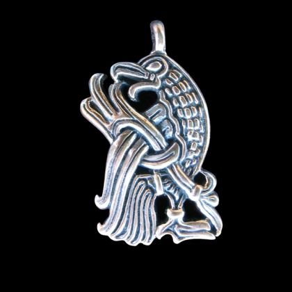 """Mammen style bird pendant, taken from the magnificent 11th century Cammin casket.  Length 35mm, 1 3/8"""""""