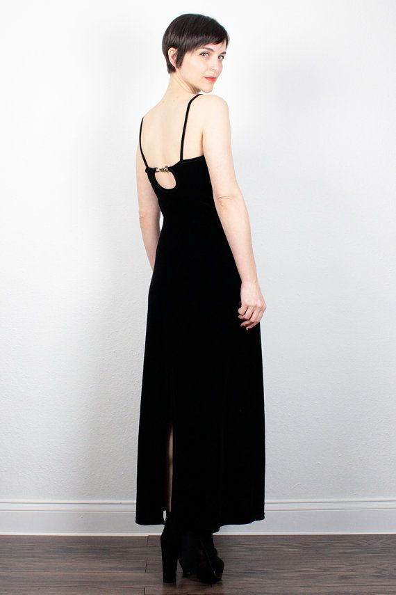 Vintage Velvet Dress 1990s Dress Black Maxi by ShopTwitchVintage