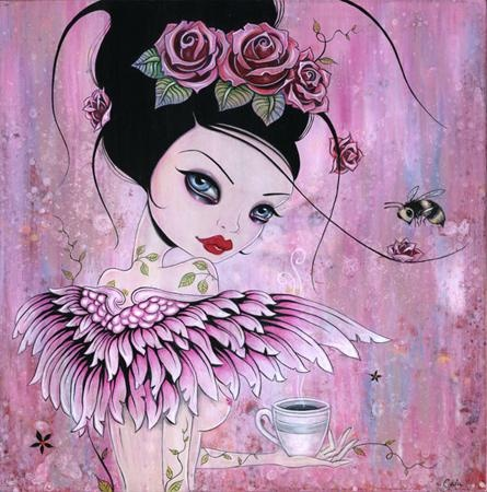 Caia KoopmanPop Surrealist, Tattoo Ideas, Artists, Coffee Angels, Art Prints, Pink, Caia Koopman, Angels Prints, Coffe Angels