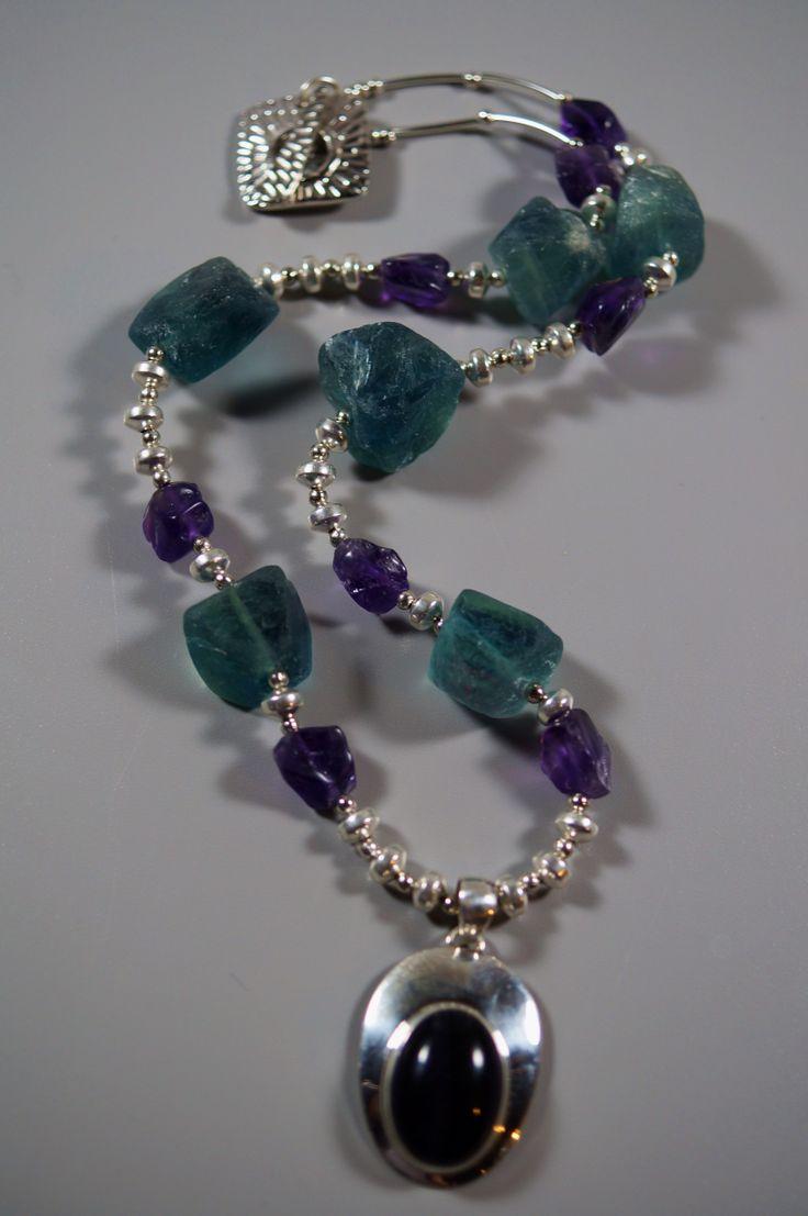 Fluorite & Amethyst Necklace