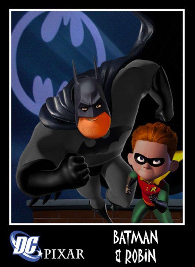 Marvel / Pixar : Batman & Robin... Robin's hair color is wrong...