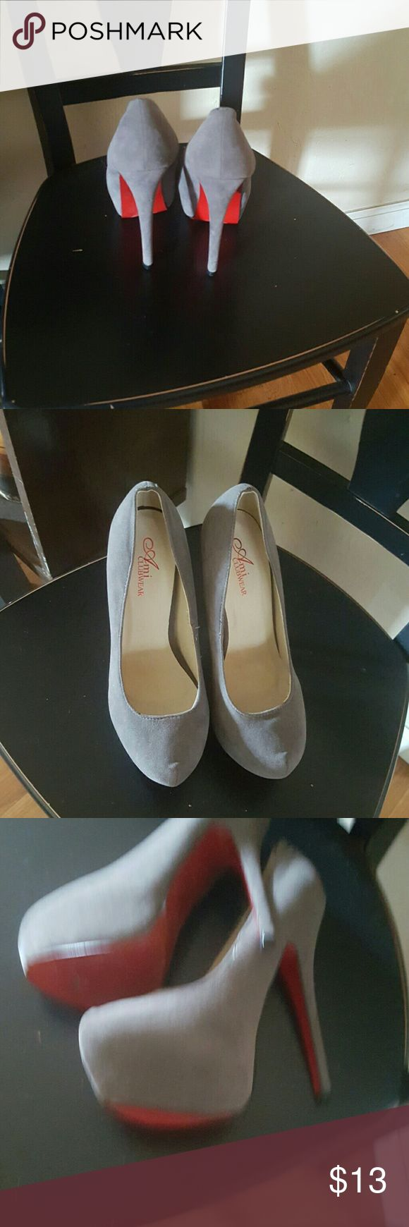 Gray beautiful heels with red bottom Fabulous gray heels with red bottom Shoes Heels