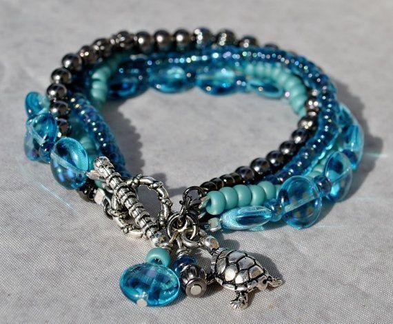 Deep Aqua Multi Strand Bracelet with Sea Turtle Charm - by SeaSide Strands