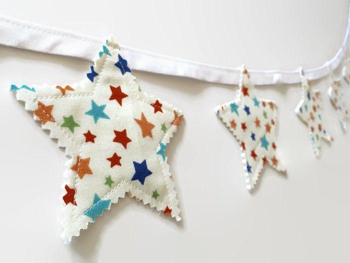 brightly coloured star garland star bunting nursery decor boys room decor girls room decor