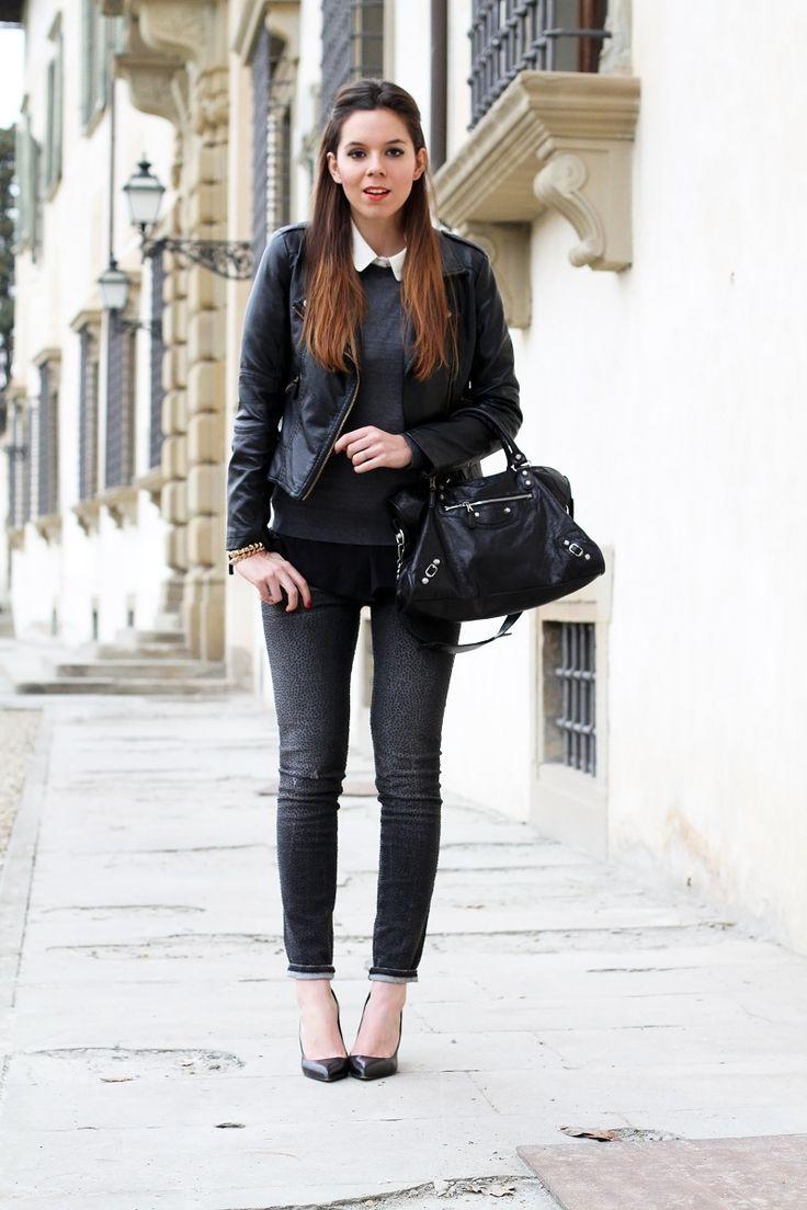 jeans swarovsky le rock giacca in pelle balenciaga nera outfit look streetstyle irene colzi fashion blogger decollete punta capelli shatush