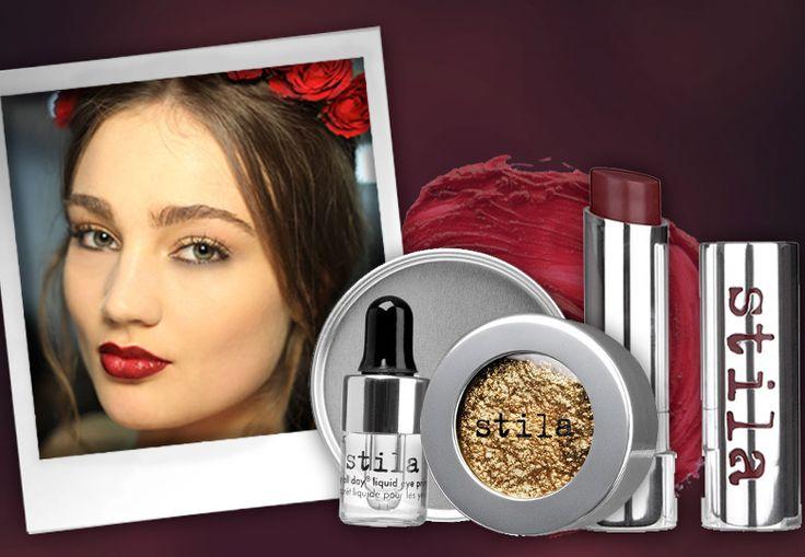 Wine lipstick + golden eyeshadows