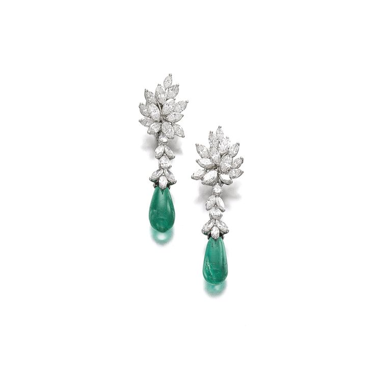 Pair of Emerald and Diamond Pendent Ear Clips, by Kern ($80,500 - $121,500). Sold Nov. 13, 2013 at Sotheby's Geneva for $244,000.