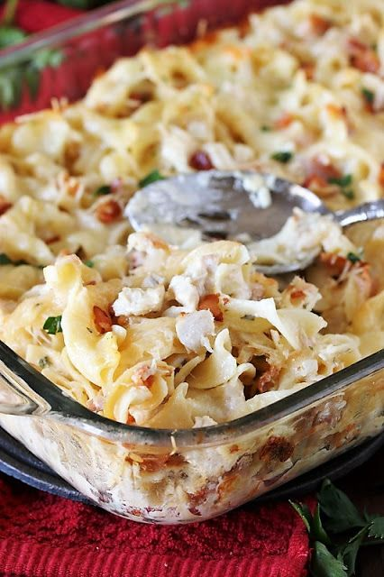 Bacon-laced creamy Turkey-Bacon Alfredo Casserole is a wonderful way to enjoy those turkey leftovers.  Taking advantage of prepared Alfredo sauce convenience, it's not only tasty, it's easy to prepare, too.