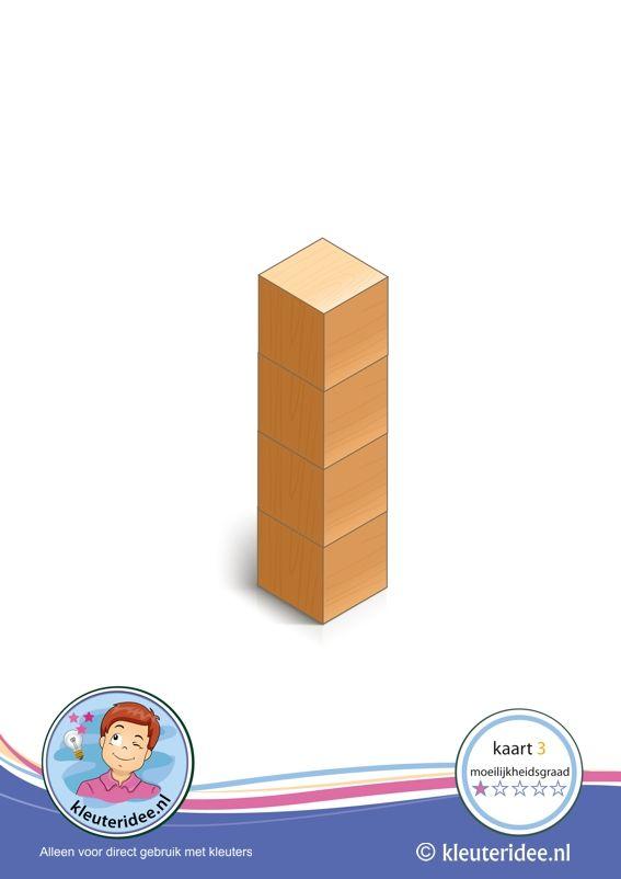 Er komen 50 bouwkaarten: Bouwkaart 3 moeilijkheidsgraad 1 voor kleuters, kleuteridee, Preschool card building blocks with toddlers 3, difficulty 1