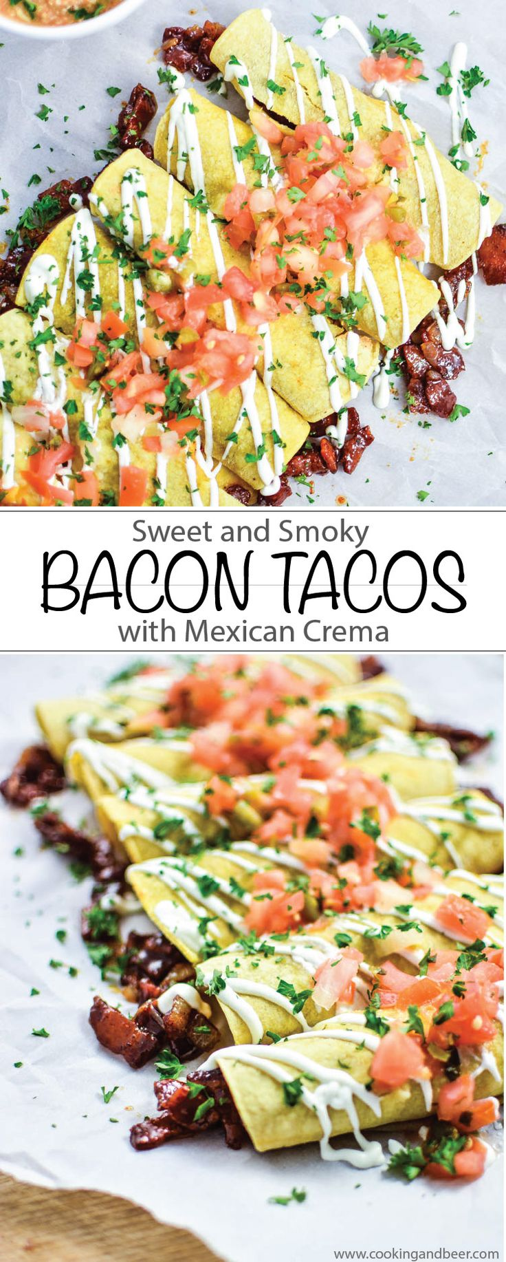 Sweet and Smoky Bacon Tacos with Mexican Crema are gluten free and ready in minutes making it the perfect lunch or weeknight dinner!   www.cookingandbeer.com
