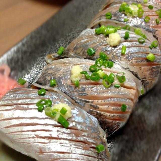 美味しそう! 鯵大好き。 - 62件のもぐもぐ - お魚屋さんのお寿司❤鯵の握りSushi of horse mackerel by Minia♥️