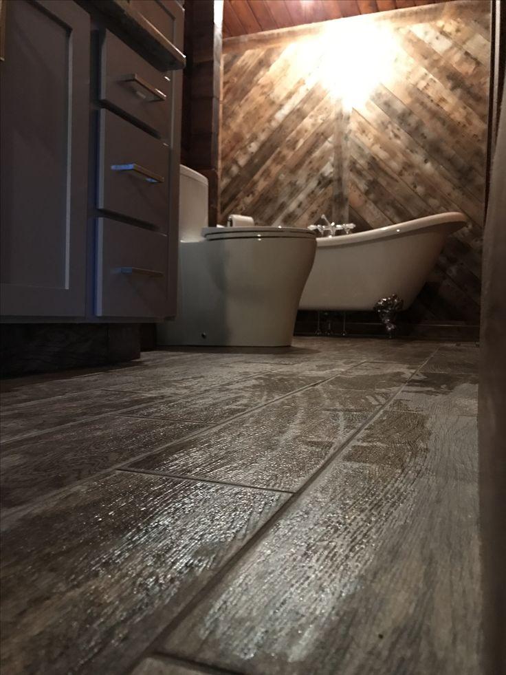 Faux wood tile floor