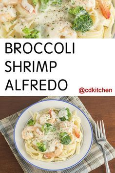 Shrimp and broccoli are smothered in a cream cheese Alfredo sauce and served over fettuccine pasta | CDKitchen.com