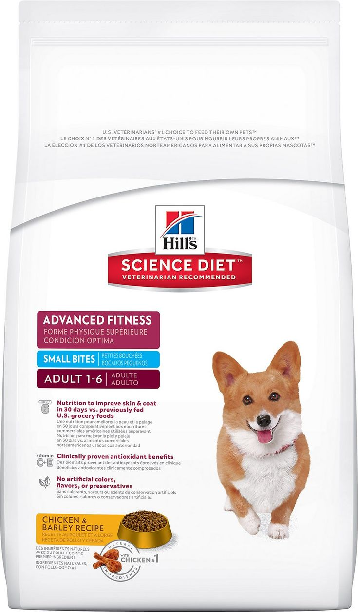 Give your small dog precisely balanced nutrition for a visible difference with the Hill's Science Diet Adult Advanced Fitness Small Bites Dry Dog Food. Made with an exclusive blend of omega 6 fatty acids and other nourishing nutrients, this recipe promotes a noticeably shiny coat in just 30 days—and the small kibble size is perfect for tiny mouths. There's also fresh chicken to maintain strong, lean muscles and an ideal body condition, and a clinically proven blend of antioxidants for a h...
