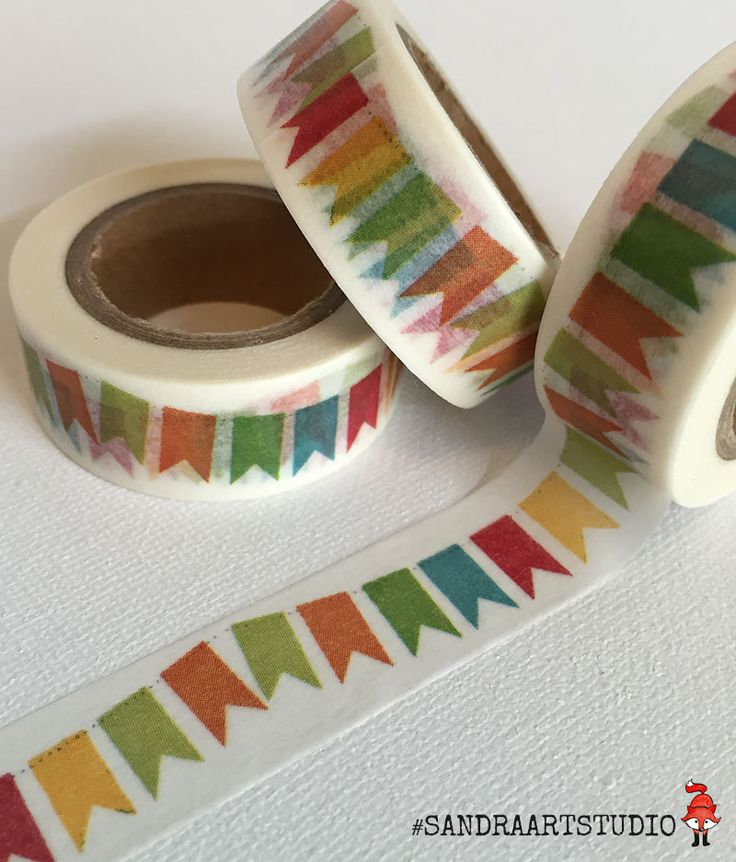 New to SandraArtStudio on Etsy: Washi tape with bunting party washi party flags printed paper tape embellishment craft tape (2.50 EUR)