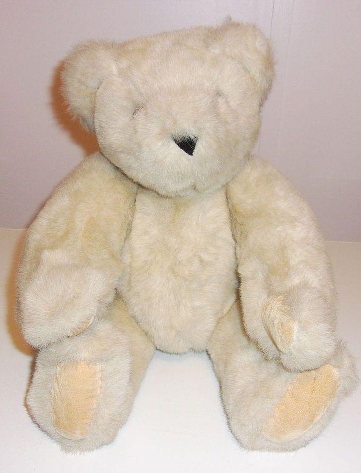 "Vermont Teddy Bear Company Plush 16"" EUC Tan Vanilla Jointed Born in Eyes #VermontTeddyBear"