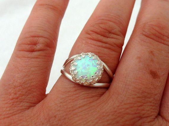 White opal ring Silver opal ring Gemstone ring by EldorTinaJewelry
