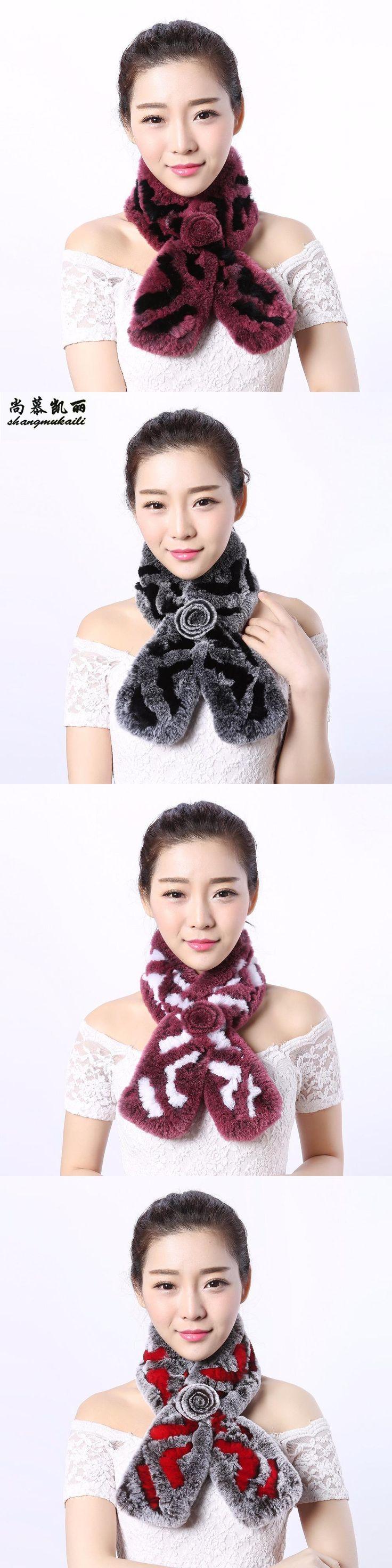 Top Rex Fur Scarf Rabbit Fur Exquisite Flower Scarf Knot Prevented Winter Cold Ladies Fashion Russian Long Scarf Women 90cm