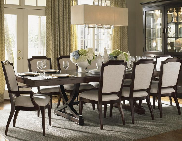Lexington Kensington Place Eleven Piece Dining Set With Customizable Fabric Chairs