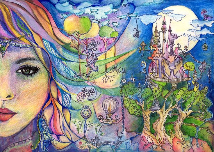 Dream Fairy portrait Aquarelle pencil and markers