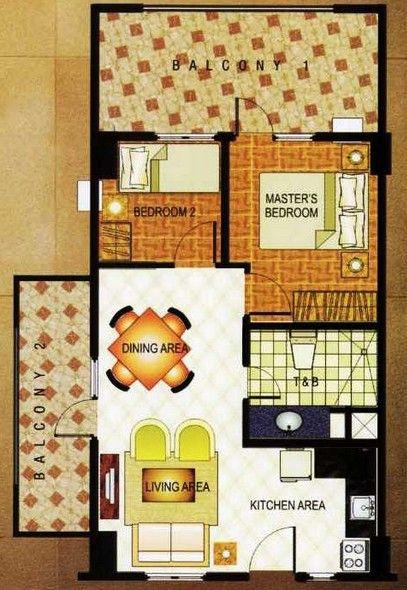 East Raya Gardens - 2-Bedroom Unit Floor Plan #manila #realEstate #condoForSale www.mymanilacondo.com/