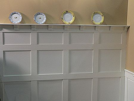 One way to use wainscoting and plate rail which provides for Craftsman picture rail