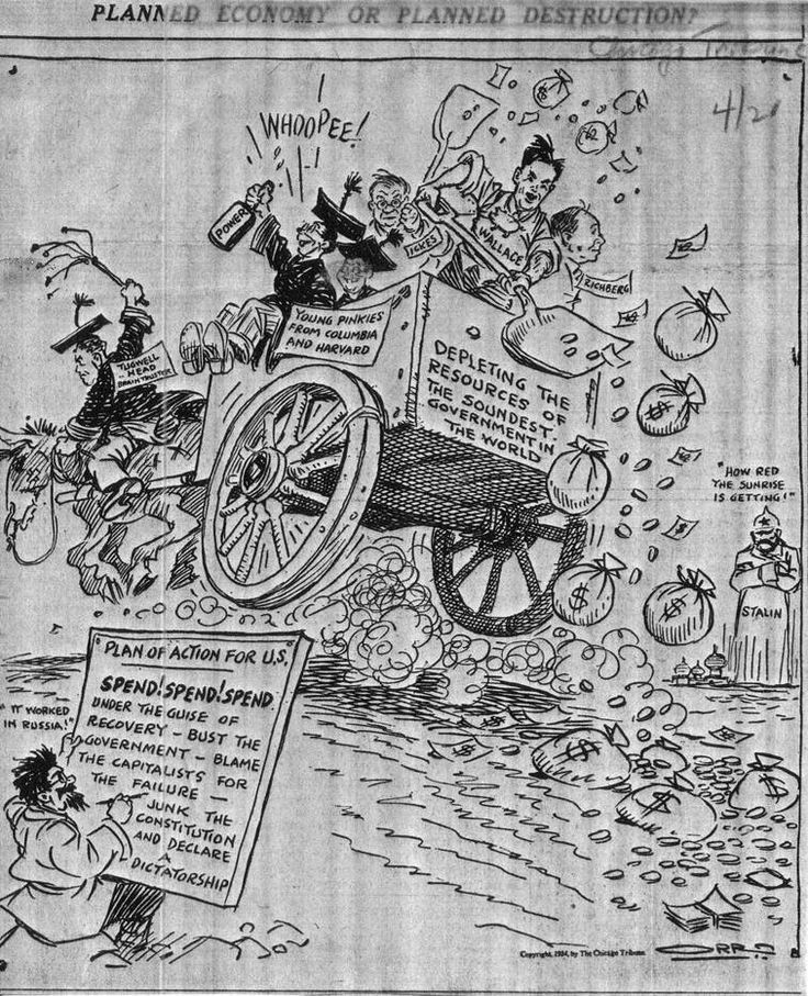 1934 Chicago Tribune Cartoon – Planned Economy or Planned Destruction?