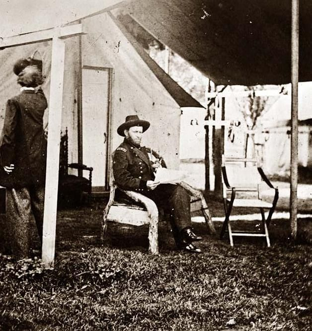 Today's picture shows General Ulysses S. Grant in camp at Cold Harbor. It was on this day, June 3, in the year 1864 that the Battle of Cold Harbor was fought. Union casualties were more than 8,000 men in one two hour period.