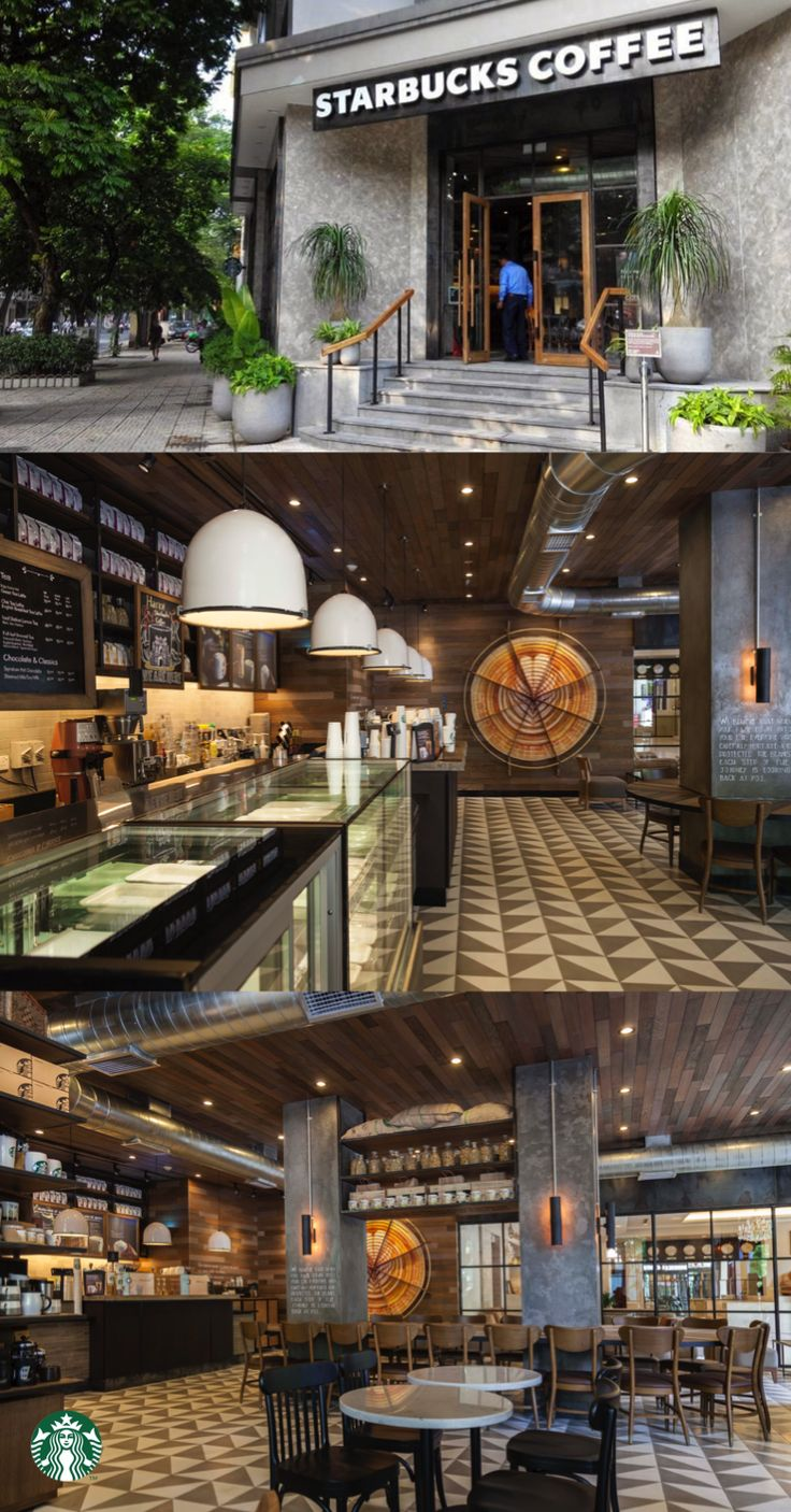 This Starbucks store located at the La Vien Hotel in central Hanoi used natural stone and teak wood to create a contemporary, calm and refined feel. Several walls showcase artwork made by local artists including a woven bamboo piece, made using the same techniques to make Vietnam's iconic conical hats.