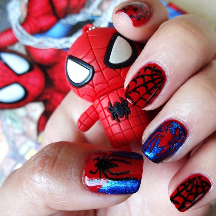 """Spider-Man Nail Art. Used Sinful Colors """"Ruby Ruby"""" and Ulta """"Demin Glitz."""" #nailart"""
