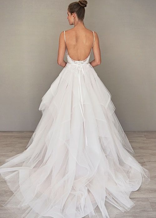A beautiful elegant backless wedding dress to consider for a spring or summer estate wedding