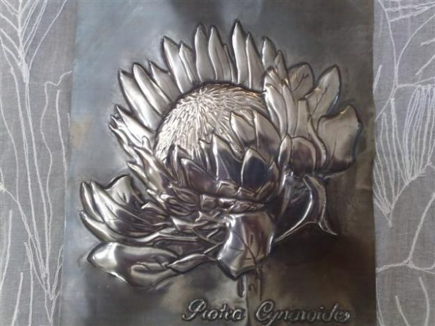 Pewter embossed protea