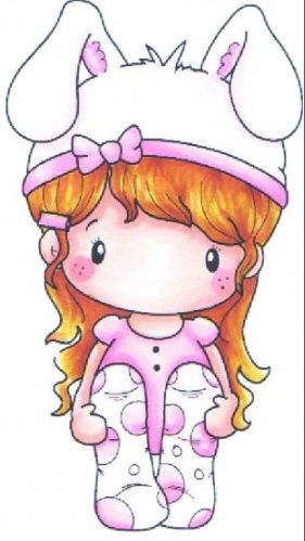 C.C. Designs - Cling Mounted Rubber Stamp - Swiss Pixie Bunny Lucy,$6.99