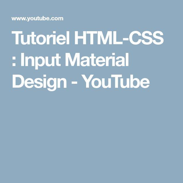Tutoriel HTML-CSS : Input Material Design - YouTube